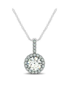 Pendants - 14K White Gold - Color - Halo - Round - Style 31481