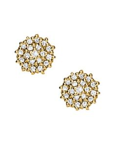 Earrings - 14K Yellow Gold - Cluster - Style 40078