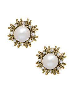 Earrings - 14K Yellow Gold - Color - Pearl - Pear - Style 40141