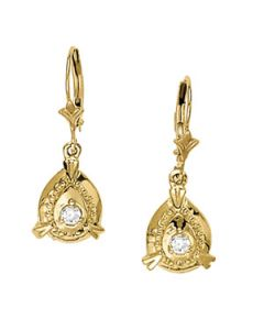 Earrings - 14K Yellow Gold - Single Stone - Style 40168