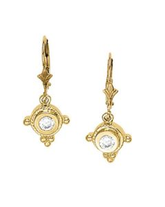 Earrings - 14K Yellow Gold - Single Stone - Style 40169