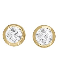 Earrings - 14K Yellow Gold - Single Stone - Style 40173