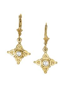 Earrings - 14K Yellow Gold - Single Stone - Style 40176