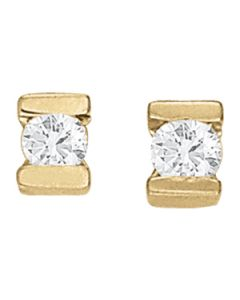 Earrings - 14K Yellow Gold - Single Stone - Style 40189