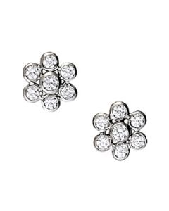 Earrings - 14K White Gold - Cluster - Style 40253