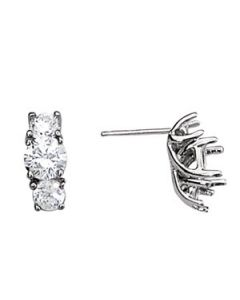 Earrings - 14K White Gold - 3 Stone - Style 40332