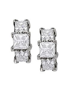Earrings - 14K White Gold - 3 Stone - Style 40336
