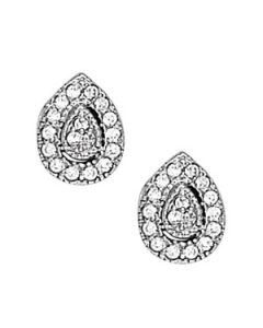 Earrings - 14K White Gold - Cluster - Style 40381