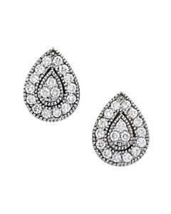 Earrings - 14K White Gold - Cluster - Style 40382