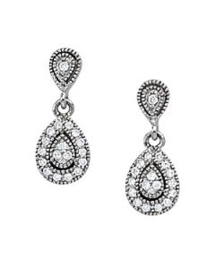 Earrings - 14K White Gold - Cluster - Style 40387