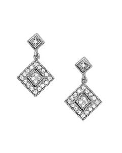 Earrings - 14K White Gold - Cluster - Style 40390