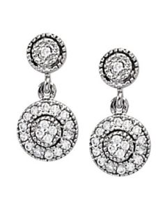 Earrings - 14K White Gold - Cluster - Style 40391