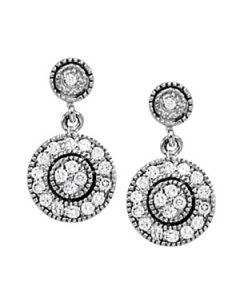 Earrings - 14K White Gold - Cluster - Style 40392
