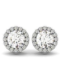 Earrings - 14K White Gold - Halo - Style 40589