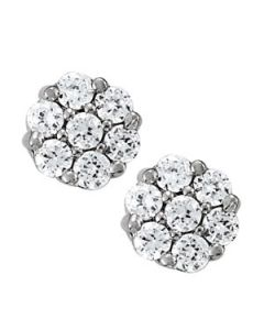 Earrings - 14K White Gold - Cluster - Style 40653