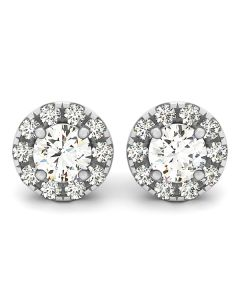 Earrings - 14K White Gold - Halo - Style 40827