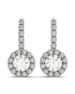 Earrings - 14K White Gold - Halo - Style 40838