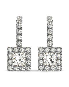 Earrings - 14K White Gold - Halo - Style 40842