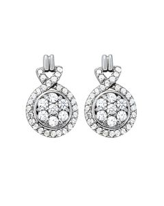 Earrings - 14K White Gold - Cluster - Style 40866