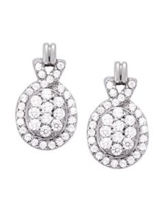 Earrings - 14K White Gold - Cluster - Style 40867