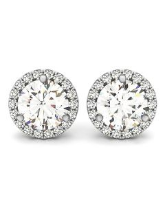 Earrings - 14K White Gold - Halo - Style 40927