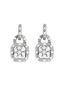 Earrings - 14K White Gold - Cluster - Style 40930