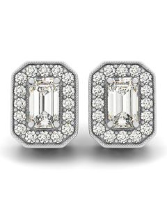 Earrings - 14K White Gold - Halo - Style 40938