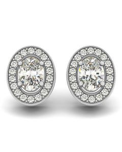 Earrings - 14K White Gold - Halo - Style 40939