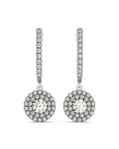 Earrings - 14K White Gold - Halo - Style 40947