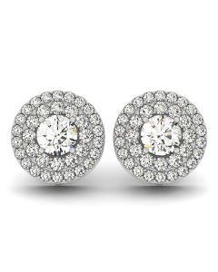 Earrings - 14K White Gold - Halo - Style 40967