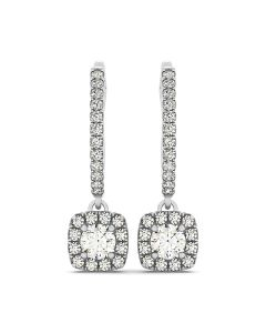Earrings - 14K White Gold - Halo - Style 40968
