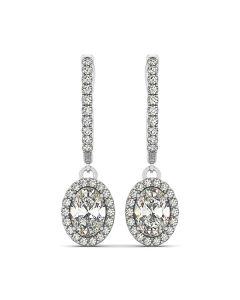 Earrings - 14K White Gold - Halo - Style 40994