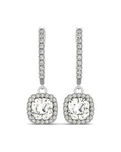 Earrings - 14K White Gold - Halo - Style 40998