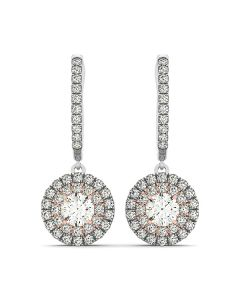 Earrings - 14K White Gold - Halo - Style 40999