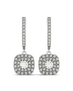 Earrings - 14K White Gold - Halo - Style 41000