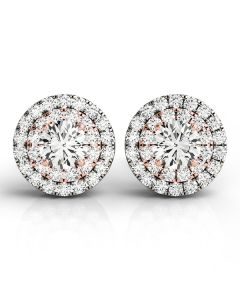 Earrings - 14K White Gold - Halo - Style 41001
