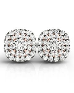 Earrings - 14K White Gold - Halo - Style 41002