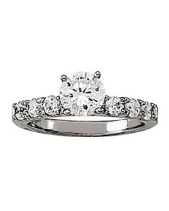 Engagement Ring - 14K White Gold - Single Row - Prong Set - Style 50261-E