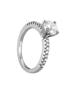 Engagement Ring - 14K White Gold - Single Row - Prong Set - Style 50281-E