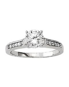 Engagement Ring - 14K White Gold - Single Row - Channel Set - Style 50283-E