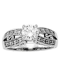 Engagement Ring - 14K White Gold - Antique - Style 50286-E