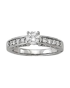 Engagement Ring - 14K White Gold - Single Row - Channel Set - Style 50295-E