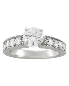 Engagement Ring - 14K White Gold - Antique - Style 50296-E