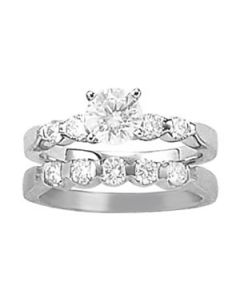 Engagement Ring - 14K White Gold - Single Row - Prong Set - Style 50300-E