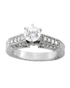 Engagement Ring - 14K White Gold - Antique - Style 50347-E