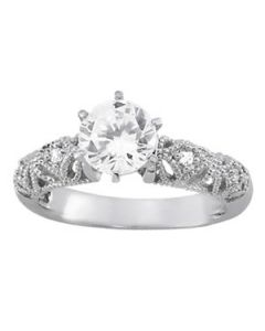 Engagement Ring - 14K White Gold - Antique - Style 50351-E