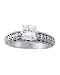 Engagement Ring - 14K White Gold - Antique - Style 50356-E