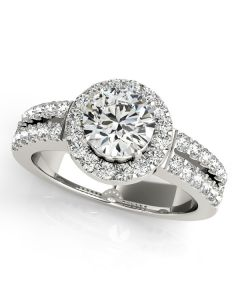 Engagement Ring - 14K White Gold - Halo - Round - Style 50378-E