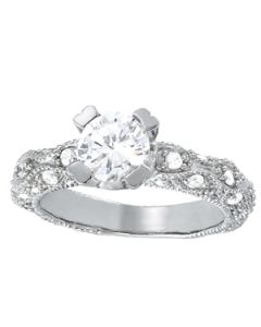 Engagement Ring - 14K White Gold - Antique - Style 50416-E