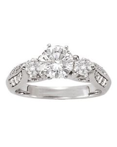 Engagement Ring - 14K White Gold - 3 Stone - Round - Style 50418-E